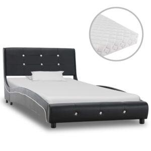 Cama com colchão 90x200 cm couro artificial preto - PORTES GRÁTIS