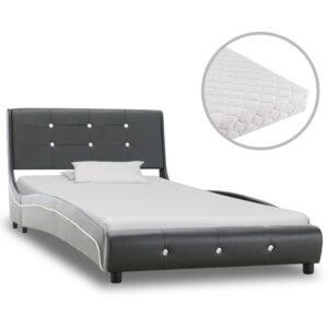 Cama com colchão 90x200 cm couro artificial cinzento - PORTES GRÁTIS
