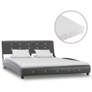 Cama com colchão 140x200 cm couro artificial cinzento - PORTES GRÁTIS