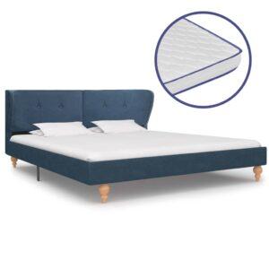 Cama com colchão de espuma de memória 160x200 cm tecido azul - PORTES GRÁTIS