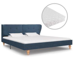 Cama com colchão 160x200 cm tecido azul - PORTES GRÁTIS