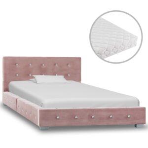 Cama com colchão 90x200 cm veludo rosa - PORTES GRÁTIS