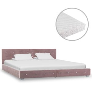 Cama com colchão 180x200 cm veludo rosa - PORTES GRÁTIS