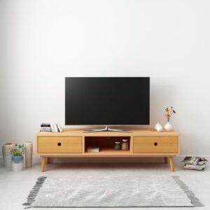 Móvel de TV 120x35x35 cm madeira de pinho maciça - PORTES GRÁTIS