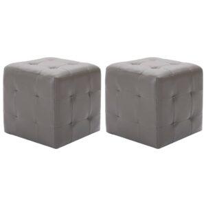 Pufe 2 pcs 30x30x30 cm couro artificial cinzento - PORTES GRÁTIS