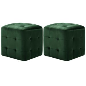 Pufe 2 pcs 30x30x30 cm veludo verde - PORTES GRÁTIS
