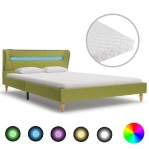 Cama com LED e colchão 140x200 cm tecido verde - PORTES GRÁTIS