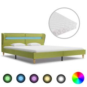 Cama com LED e colchão 160x200 cm tecido verde - PORTES GRÁTIS