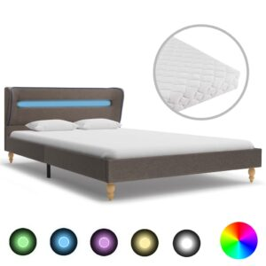 Cama com LED e colchão 140x200 cm tecido cinzento-acastanhado - PORTES GRÁTIS