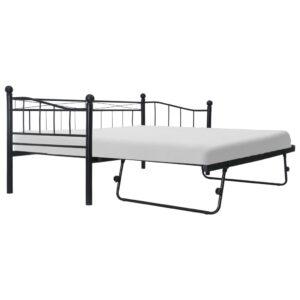 Estrutura de cama em aço 180x200/90x200 cm preto - PORTES GRÁTIS