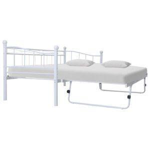 Estrutura de cama em aço 180x200/90x200 cm branco - PORTES GRÁTIS