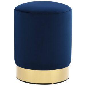 Banco 26,5 x 38 cm veludo azul e dourado - PORTES GRÁTIS