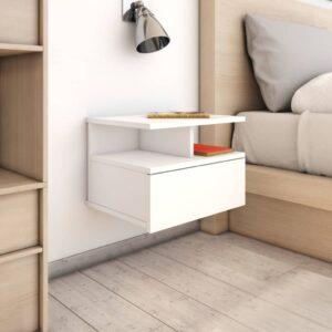 Mesa cabeceira suspensa 2 pcs 40x31x27 cm contraplacado branco - PORTES GRÁTIS