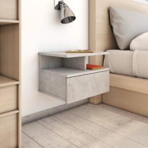 Mesa cabeceira suspensa 2 pcs 40x31x27 cm cinzento cimento - PORTES GRÁTIS