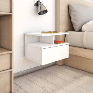 Mesa cabeceira suspensa 2 pcs 40x31x27 cm branco brilhante - PORTES GRÁTIS