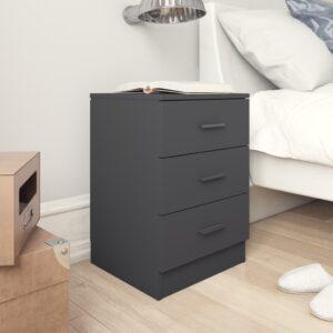 Mesa de cabeceira 38x35x56 cm contraplacado cinzento - PORTES GRÁTIS
