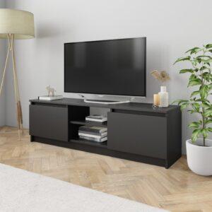 Móvel de TV 120x30x35,5 cm contraplacado preto - PORTES GRÁTIS