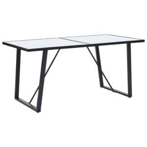 Mesa de jantar 160x80x75 cm vidro temperado branco - PORTES GRÁTIS