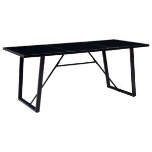 Mesa de jantar 200x100x75 cm vidro temperado preto - PORTES GRÁTIS