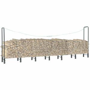 Suporte para lenha 360x35x120 cm aço antracite - PORTES GRÁTIS