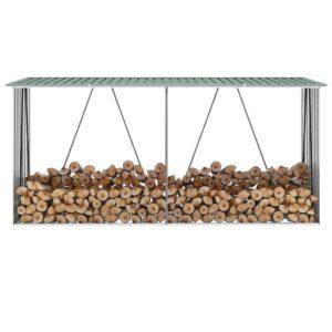 Abrigo jardim p/ arrumação de troncos aço 330x84x152cm verde - PORTES GRÁTIS