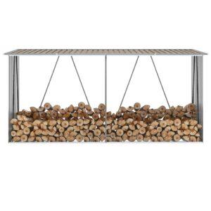 Abrigo jardim p/ arrumação de troncos aço 330x84x152cm castanho - PORTES GRÁTIS