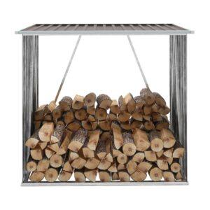 Abrigo p/ arrumação de troncos jardim aço 163x83x154cm castanho - PORTES GRÁTIS