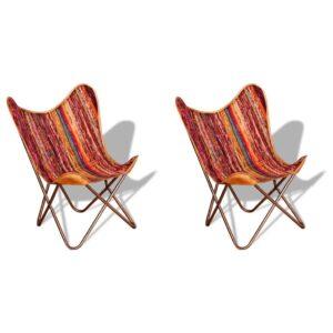 Cadeiras borboleta 2 pcs tecido chenille multicolorido - PORTES GRÁTIS