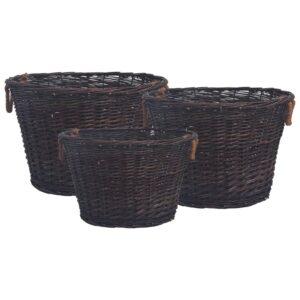 Conjunto de cestos lenha empilháveis 3 pcs salgueiro castanho - PORTES GRÁTIS