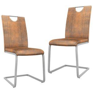 Cadeiras de jantar 2 pcs couro artificial castanho camurça - PORTES GRÁTIS