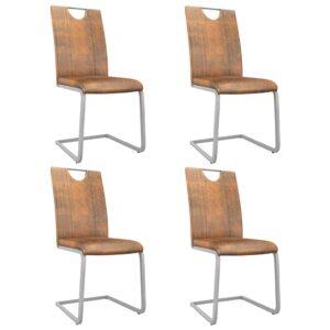 Cadeiras de jantar 4 pcs couro artificial castanho camurça - PORTES GRÁTIS