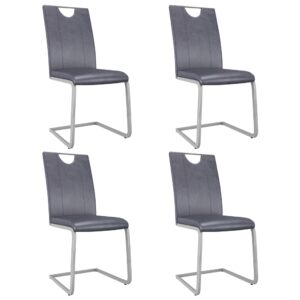 Cadeiras de jantar 4 pcs couro artificial cinzento camurça - PORTES GRÁTIS