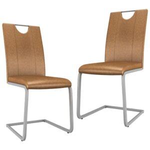 Cadeiras de jantar 2 pcs couro artificial castanho - PORTES GRÁTIS