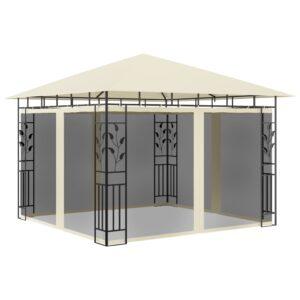 Gazebo com rede mosquiteira 3x3x2,73 m 180 g/m² creme - PORTES GRÁTIS