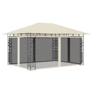 Gazebo com rede mosquiteira 4x3x2,73 m 180 g/m² creme - PORTES GRÁTIS