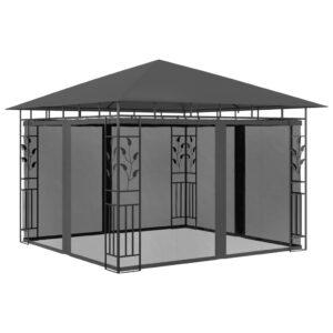 Gazebo com rede mosquiteira 3x3x2,73 m 180 g/m² antracite - PORTES GRÁTIS