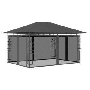 Gazebo com rede mosquiteira 4x3x2,73 m 180 g/m² antracite - PORTES GRÁTIS