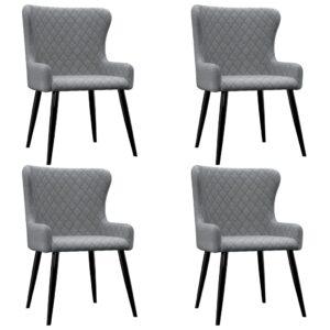 Cadeiras de jantar 4 pcs tecido cinzento-claro  - PORTES GRÁTIS