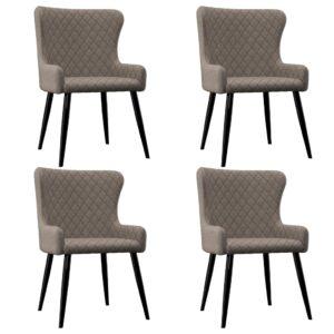Cadeiras de jantar 4 pcs tecido cinzento-acastanhado - PORTES GRÁTIS