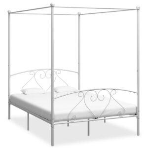Estrutura de cama dossel 160x200 cm metal branco - PORTES GRÁTIS