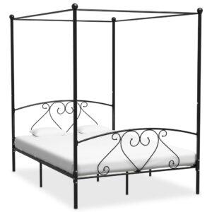 Estrutura de cama dossel 160x200 cm metal preto - PORTES GRÁTIS