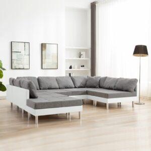 Sofá seccional couro artificial branco - PORTES GRÁTIS