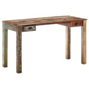 Secretária 130x55x76 cm madeira recuperada maciça - PORTES GRÁTIS