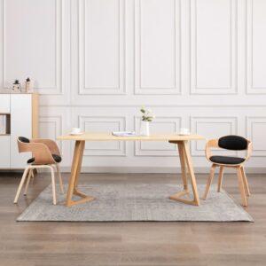Cadeiras de jantar 2 pcs madeira curvada e couro artificial - PORTES GRÁTIS