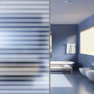 Película de privacidade fosca para janelas às riscas 0,9x100 m - PORTES GRÁTIS