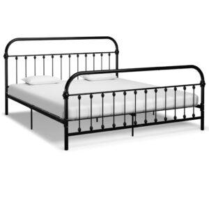 Estrutura de cama em metal 180x200 cm preto - PORTES GRÁTIS