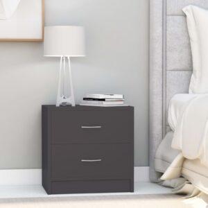 Mesa de cabeceira 40x30x40 cm contraplacado cinzento - PORTES GRÁTIS