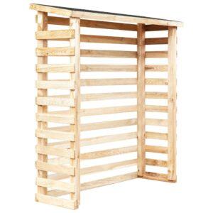 Abrigo para lenha jardim 160x50x170 cm madeira de pinho - PORTES GRÁTIS