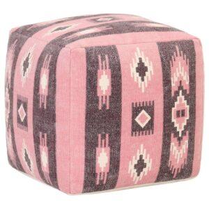 Pufe com design estampado 45x45x45 cm algodão rosa  - PORTES GRÁTIS