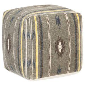 Pufe com design estampado 45x45x45 cm algodão verde  - PORTES GRÁTIS